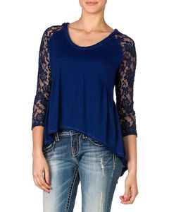 Miss Me Hooded Peplum Lace Top, , hi-res