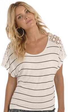 Rock & Roll Cowgirl Women's Natural Crochet Shoulder Shirt , , hi-res