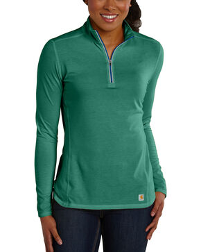 Carhartt Women's Force Performance Quarter-Zip Shirt, Green, hi-res