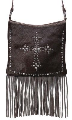 Shyanne Women's Hair-on-Hide Embellished Cross Brown Crossbody Purse, , hi-res