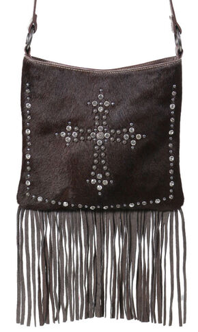Shyanne Women's Hair-on-Hide Embellished Cross Brown Crossbody Purse, Brown, hi-res