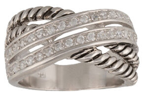 Montana Silversmiths Women's Double Band Wrap Ring, Silver, hi-res