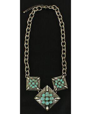 Blazin Roxx Triple Flower Necklace, Turquoise, hi-res