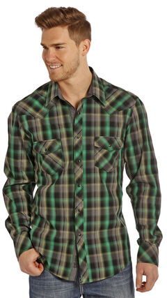 Rock and Roll Cowboy Men's Green Plaid Two Pocket Snap Western Shirt, , hi-res