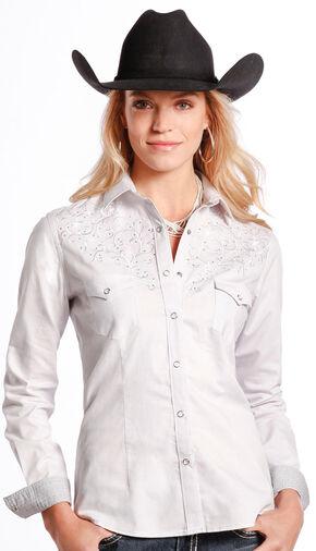 Rough Stock by Panhandle Slim Women's White Rhinestone Western Shirt , White, hi-res
