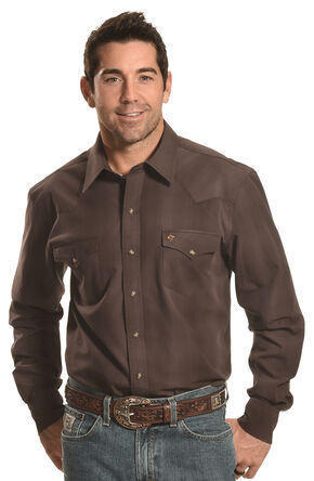 Garth Brooks Sevens by Cinch Men's Muted Brown Plaid Western Shirt , Brown, hi-res