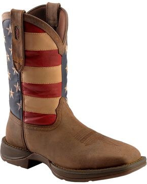Durango Rebel American Flag Cowboy Boots - Steel Toe, Brown, hi-res
