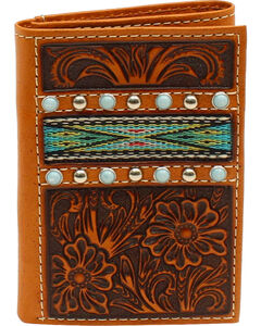 Ariat Men's Tri-Fold Ribbon Strip Turquoise Stone Wallet, , hi-res
