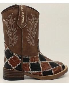 Double Barrel Boys' Andy Zip Patchwork Boots - Square Toe, , hi-res
