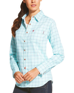 Ariat Women's Blue FR Rockford Work Shirt, Blue, hi-res