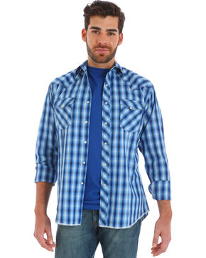 Wrangler Men's Blue Fashion Long Sleeve Plaid Shirt - Big and Tall , Blue, hi-res