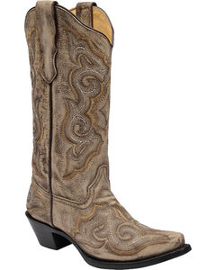 Corral Distressed Light Brown Cowgirl Boots - Snip Toe, , hi-res