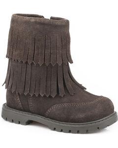 Roper Girls' Brown Fashion Fringe Moccasin Boots - Round Toe, , hi-res