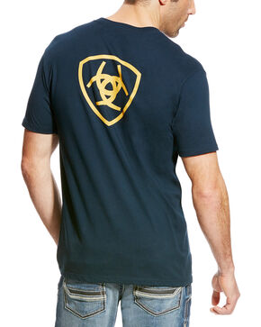 Ariat Men's Navy Corporate Logo Athletic T-Shirt , Navy, hi-res