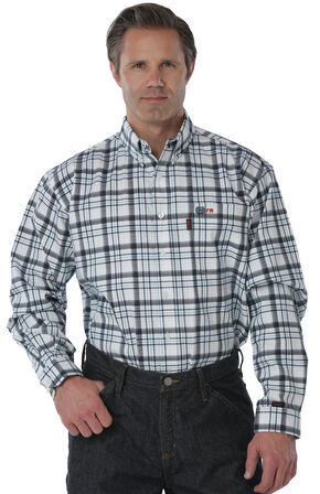 Cinch WRX Flame Resistant Navy Plaid Work Shirt, White, hi-res
