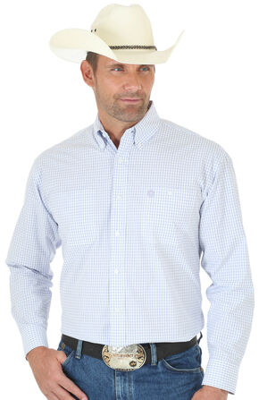 Wrangler George Strait Light Purple Plaid Button Down Shirt - Big & Tall , White, hi-res