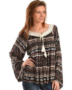 Wrangler Women's Printed Crochet Trim Peasant Top, , hi-res