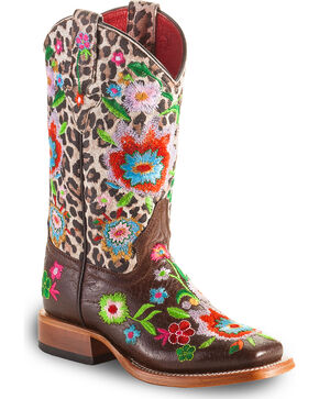 Macie Bean Girls' Smokey & The Bandit Boots - Square Toe , Brown, hi-res