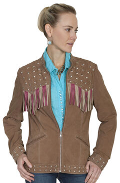 Scully Fringe Flag Lamb Suede Jacket, , hi-res
