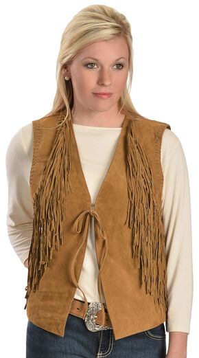 Red Ranch Women's Suede Fringe Vest, Brown, hi-res