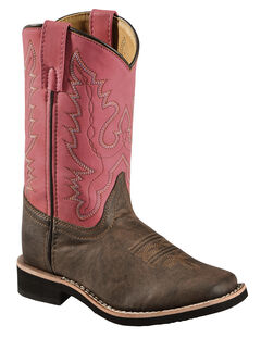 Swift Creek Girls' Chocolate and Raspberry Cowgirl Boots - Square Toe , , hi-res