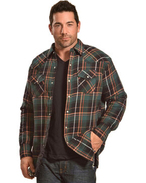 Ely Cattleman Men's Green Quilted Flannel Shirt Jacket - Tall , Green, hi-res