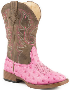 Roper Youth Girls' Pink Faux Ostrich Print Cowgirl boots - Square Toe, , hi-res