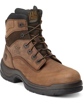 "Ariat Flex Pro 6"" Lace-Up Distressed Work Boots - Composition Toe, Brown, hi-res"