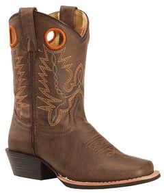 Swift Creek Boy's Brown Cowboy Boots - Square Toe, , hi-res