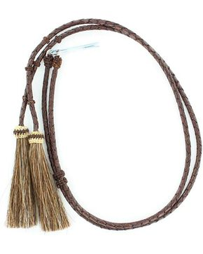 Braided Leather Brown Horsehair Tassels Stampede String, Brown, hi-res
