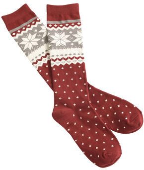Shyanne Women's Snowflake Knee-High Socks, Burgundy, hi-res