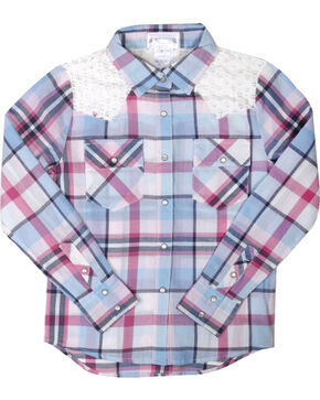 Shyanne Girls' Plaid Crochet Long Sleeve Shirt , Multi, hi-res