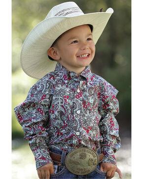 Cinch Toddler Boys' Paisley Floral Long Sleeve Shirt, Multi, hi-res