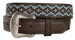 Nocona Beaded Leather Belt, , hi-res