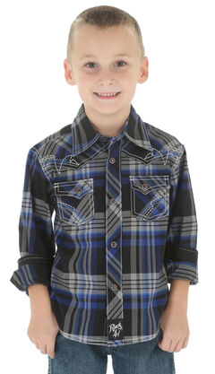 Wrangler Rock 47 Boys' Black Plaid Snap Shirt, , hi-res