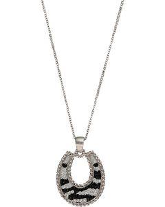 Montana Silversmiths Zebra Horseshoe Necklace, , hi-res