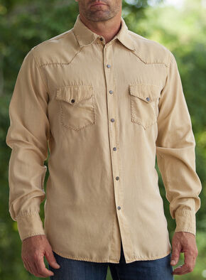 Ryan Michael Men's Rattan Whip Stitch Silk Twill Shirt , Natural, hi-res
