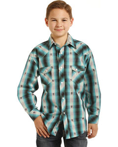 Rock & Roll Cowboy Boys' Teal Plaid Shirt , , hi-res