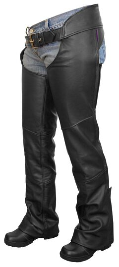 Interstate Leather Flared Leg Motorcycle Chaps - XL, , hi-res