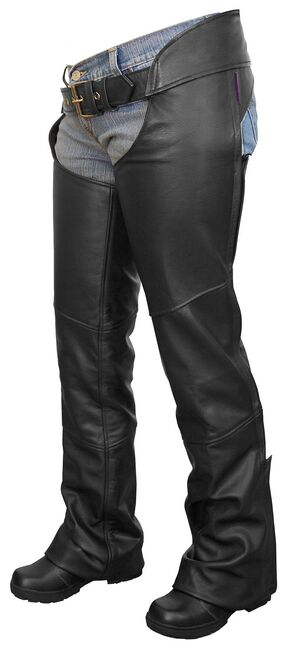 Interstate Leather Flared Leg Motorcycle Chaps - XL, Black, hi-res