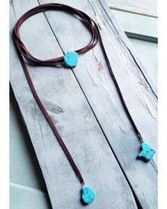 Jewelry Junkie Women's Turquoise Slab Lariat Necklace , , hi-res