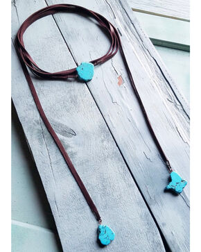 Jewelry Junkie Women's Turquoise Slab Lariat Necklace , Turquoise, hi-res