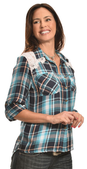 New Direction Sport Women's Blue Plaid Lace Western Shirt , Blue, hi-res
