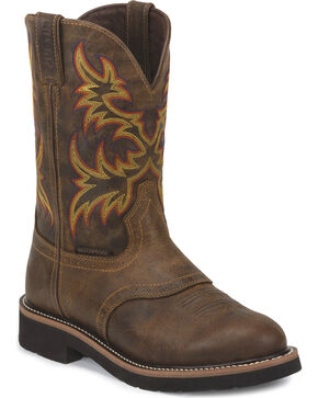 Justin Men's Stampede Waterproof Work Boots - Soft Round Toe, Brown, hi-res