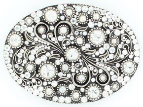 Oval Crystals Buckle, Silver, hi-res