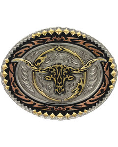Montana Silversmiths Men's Tri-Colored Oval Longhorn Steer Attitude Buckle, , hi-res