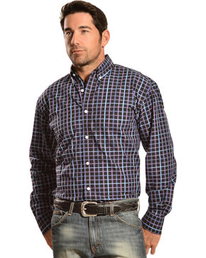 Gibson Trading Co. Long Sleeve Black, Blue, and Purple Check Shirt, Black, hi-res