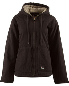 Berne Women's Washed Sherpa-Lined Hooded Coat - 3X & 4X, , hi-res
