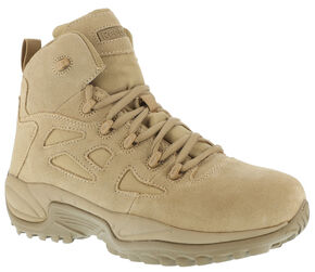 "Reebok Men's Stealth 6"" Lace-Up Side Zip Work Boots, Desert Khaki, hi-res"