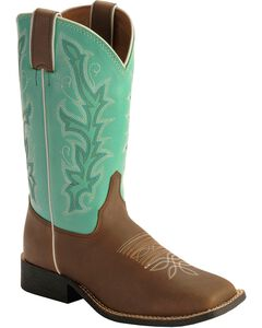 Justin Youth Boys' Turquoise Shaft Cowboy Boots - Square Toe, , hi-res